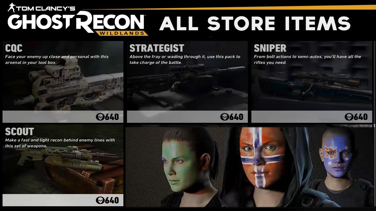 Ghost Recon Wildlands - All Store Items (Weapons/Vehicle/Outfits/Attachment Packs)